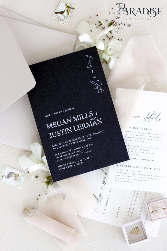 Maya Navy Wedding Invitation Sets