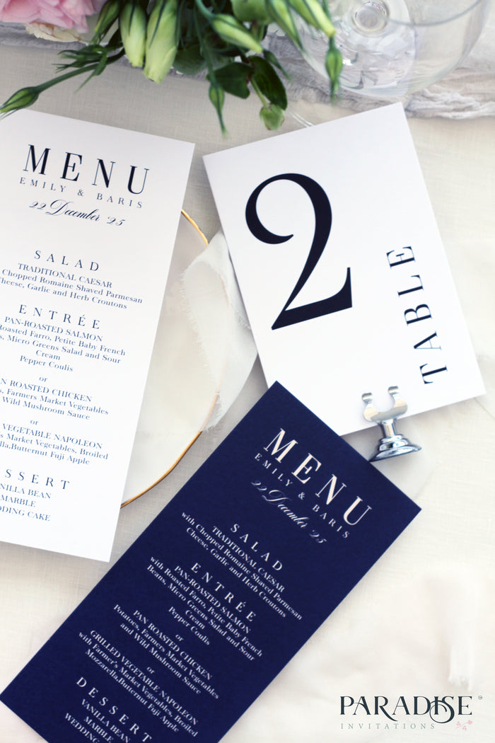 Aliette Elegant Navy Blue Table Numbers