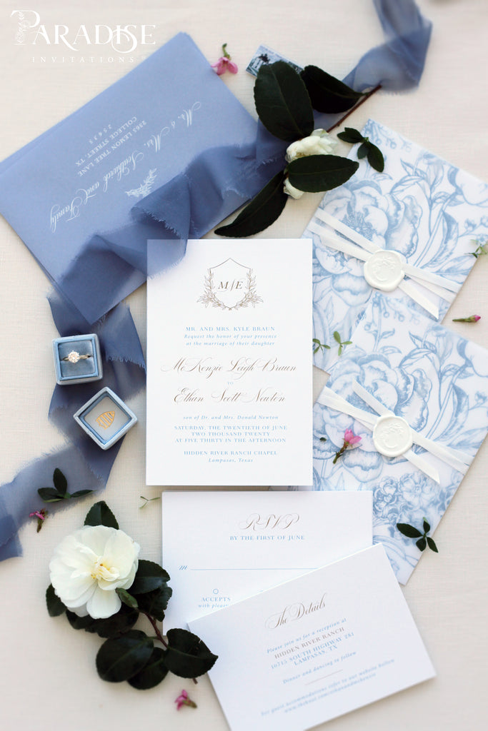 Angeline Dusky Blue Wedding Invitations