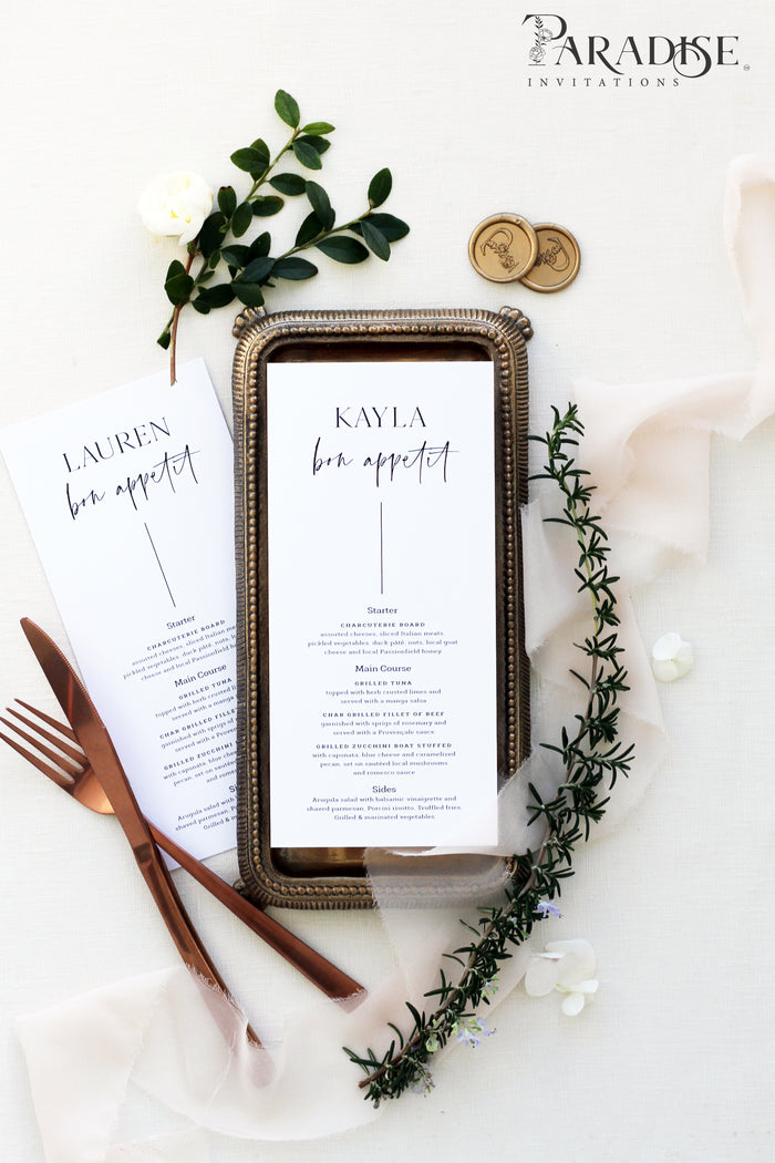 Marteen Elegant Wedding Menu