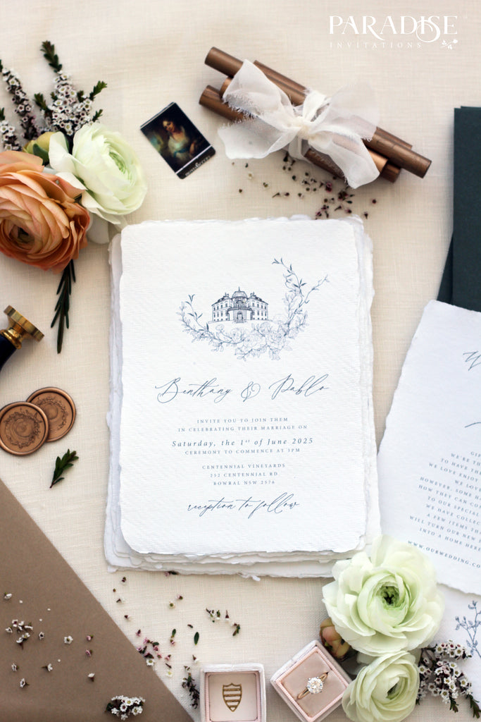 Fleurine Handmade Paper Wedding Invitation