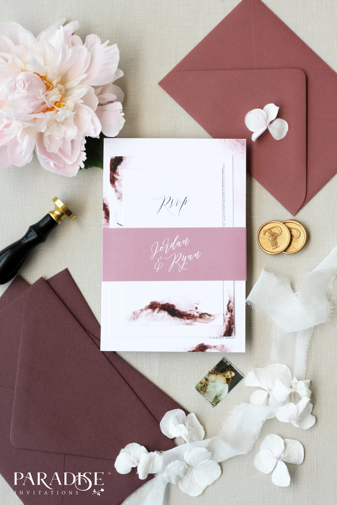 Vedette Burgundy Watercolor Wedding Invitations