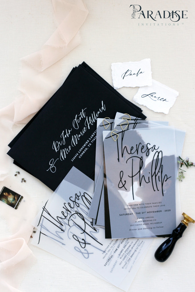 Linetta Vellum Wedding Invitation Sets