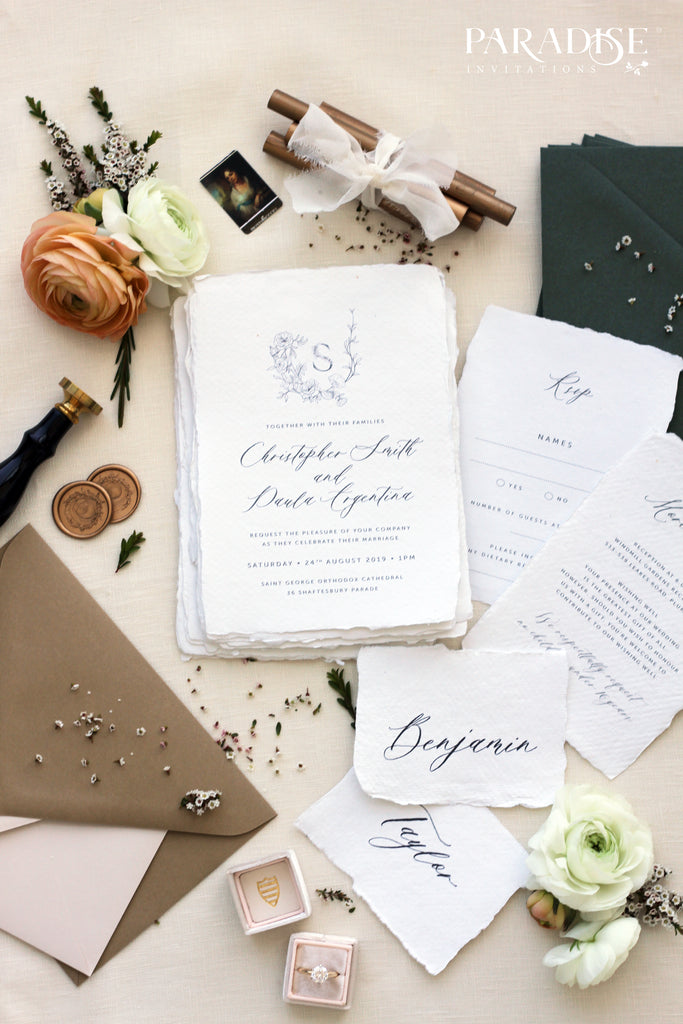 Odette Handmade Paper Wedding Invitation