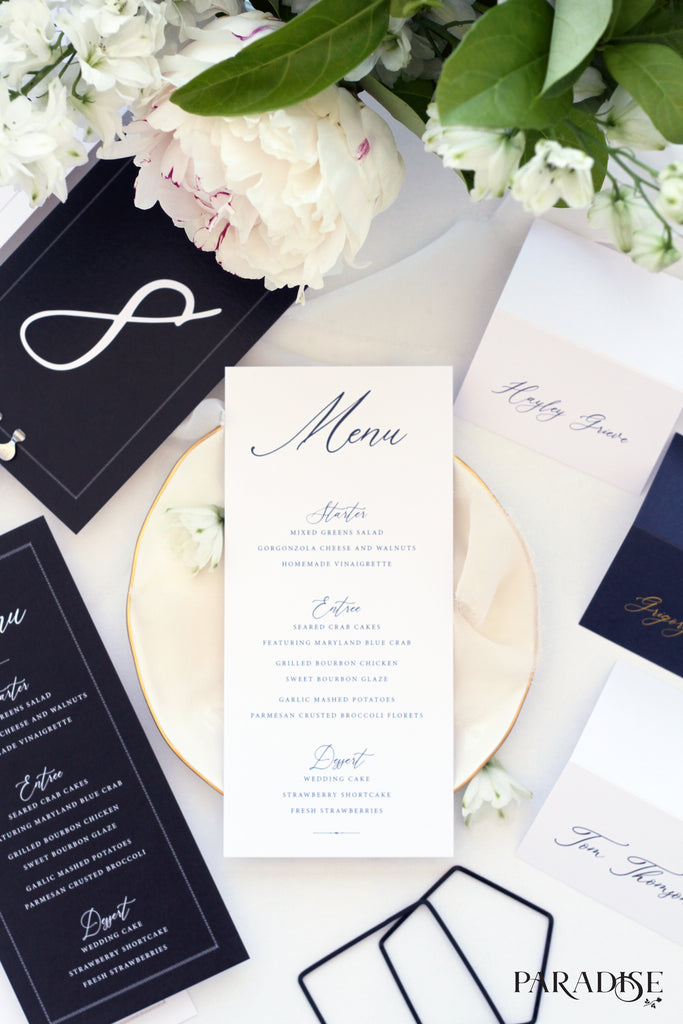 Elvia White Wedding Menu