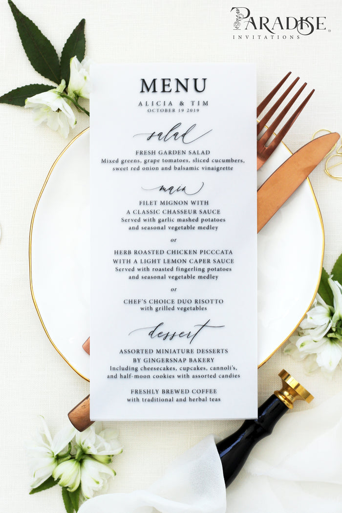 Barbara Vellum Wedding Menus
