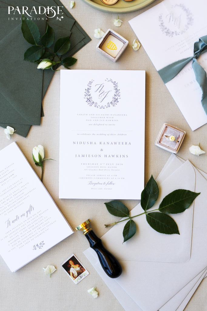 Nidusha Monogram Wedding Invitation