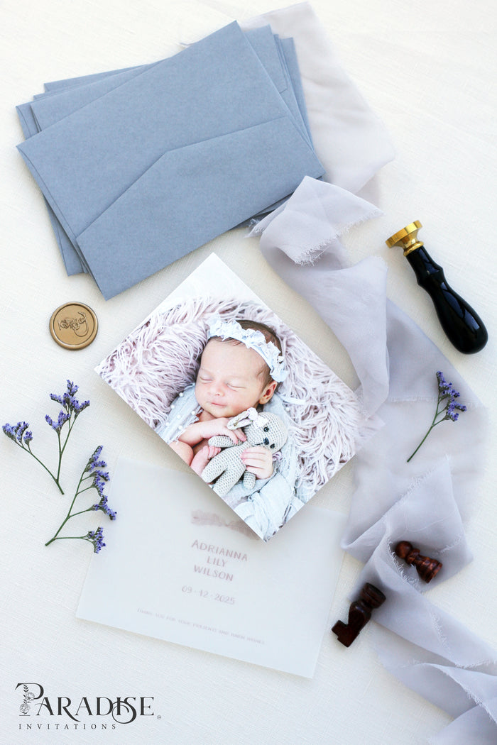 Sherry Birth announcements, Digital or Printed Baby Announcement, Thank you Baby Card