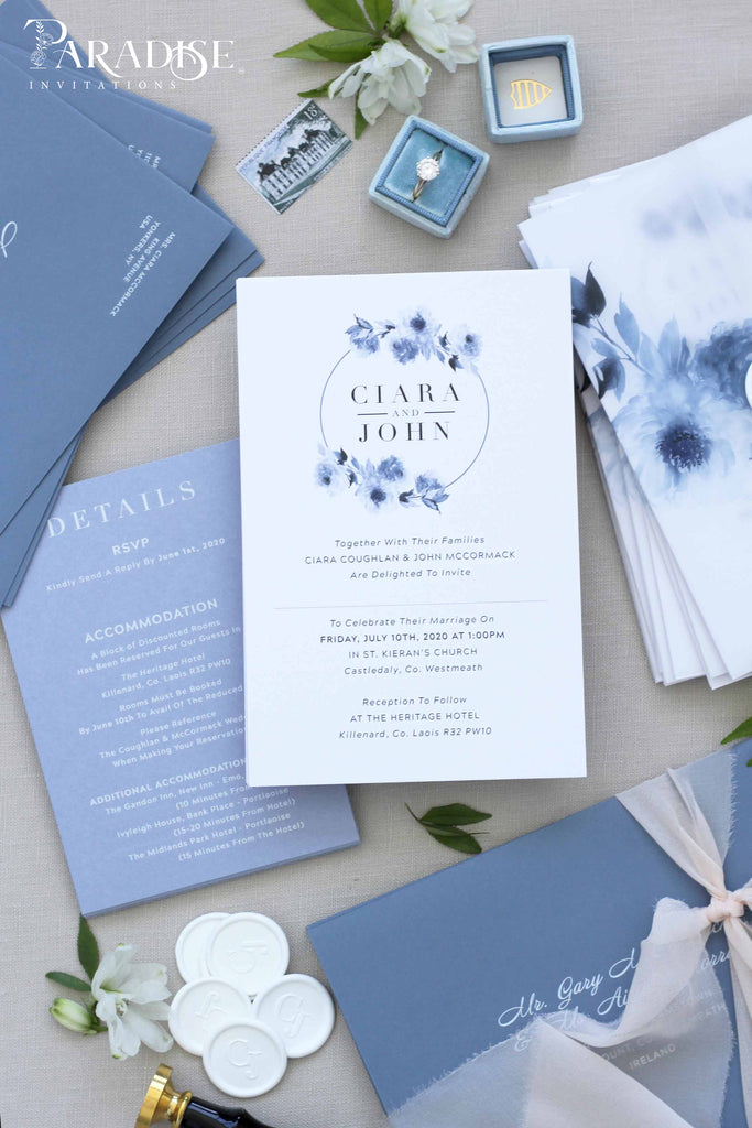Adelise Dusty Blue Floral Wedding Invitation