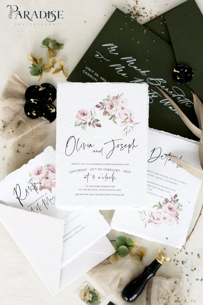Caterina Bohemian Handmade Paper Wedding Invitation Sets