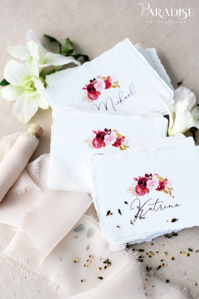 Cosette Floral Handmade paper Place Cards
