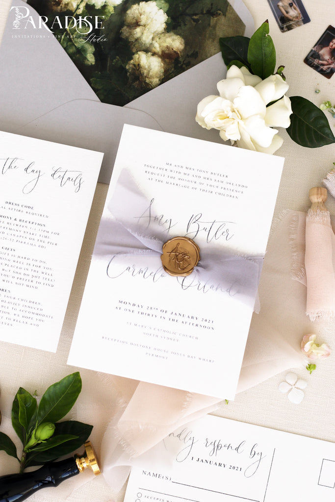 Mireille Lace Ribbon Wedding Invitation Sets