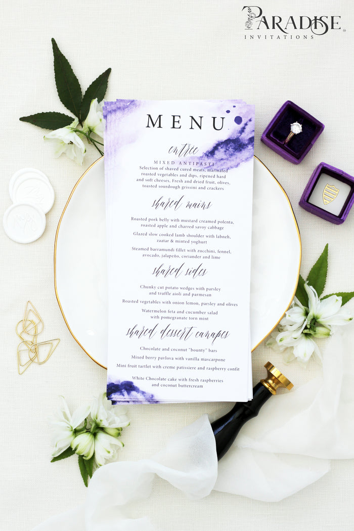 Benoîte Purple Watercolor Wedding Menus