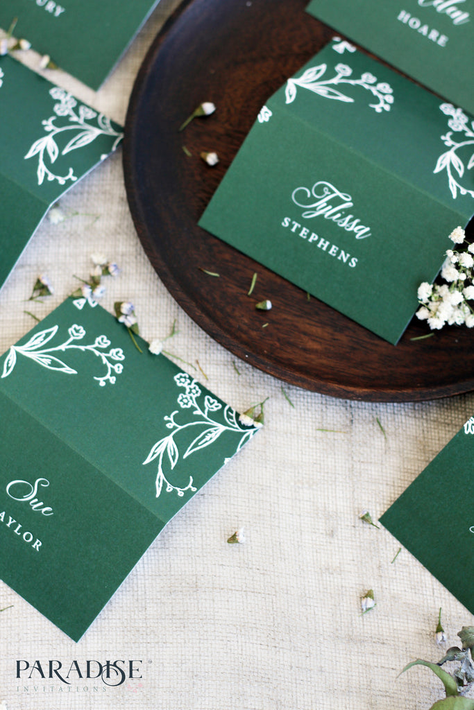 Daisie Elegant Green Place Cards