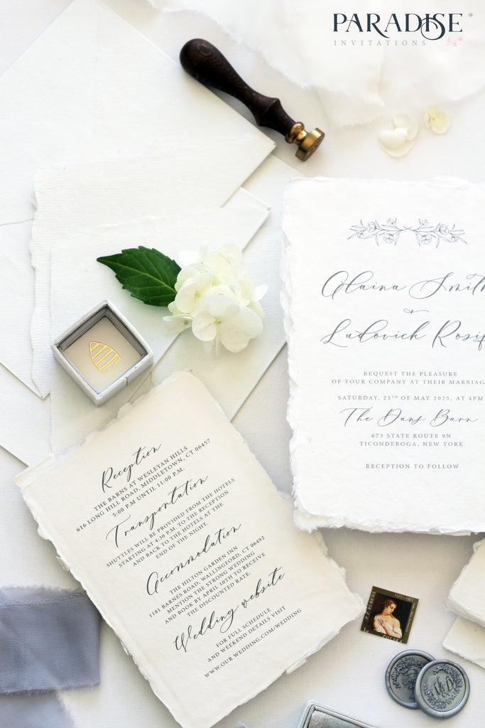 Chantalle Handmade Paper Wedding Invitation