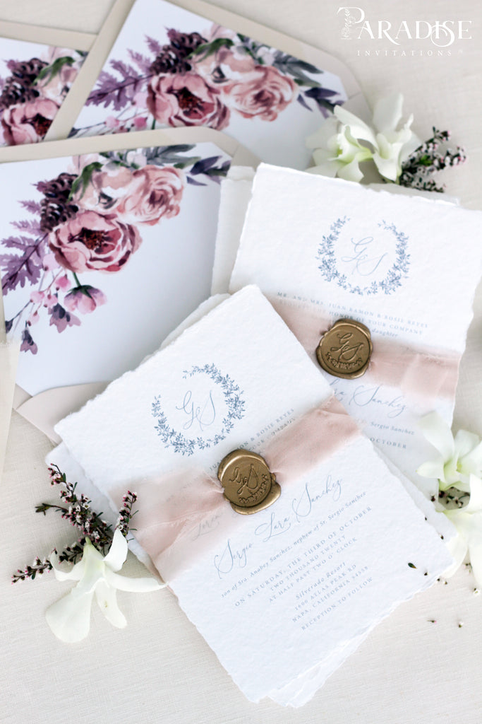 Floriane Handmade Paper Wedding Invitation