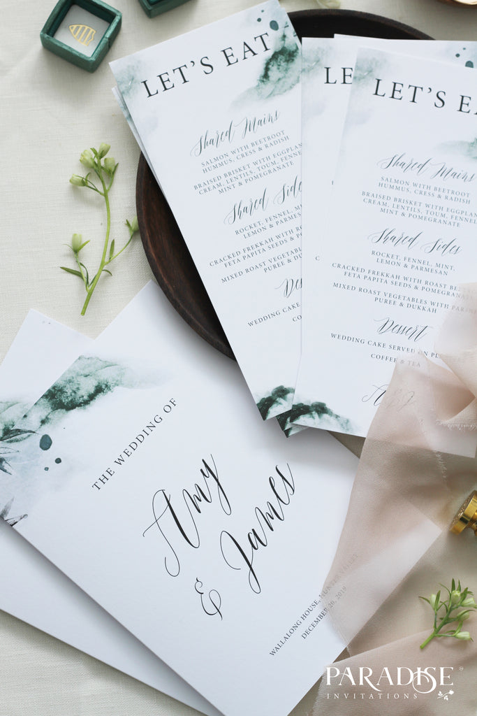Maurelle Watercolor Wedding Menus