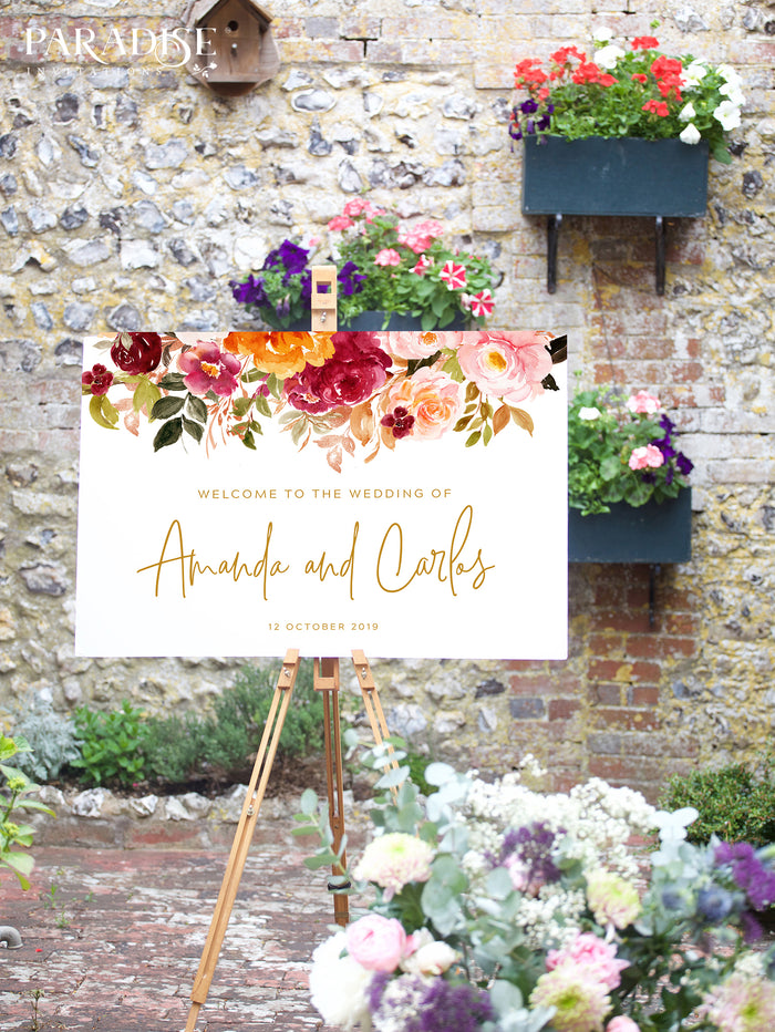 Fleur Wedding Welcome Sign