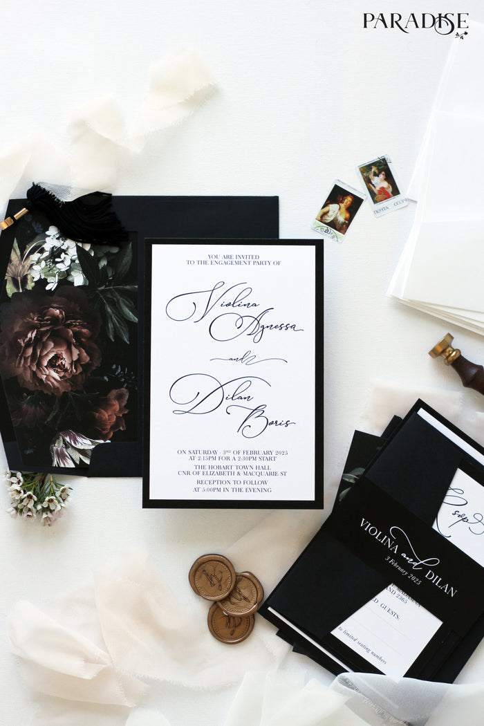 Elvia Elegant Flowers Engagement Invitation