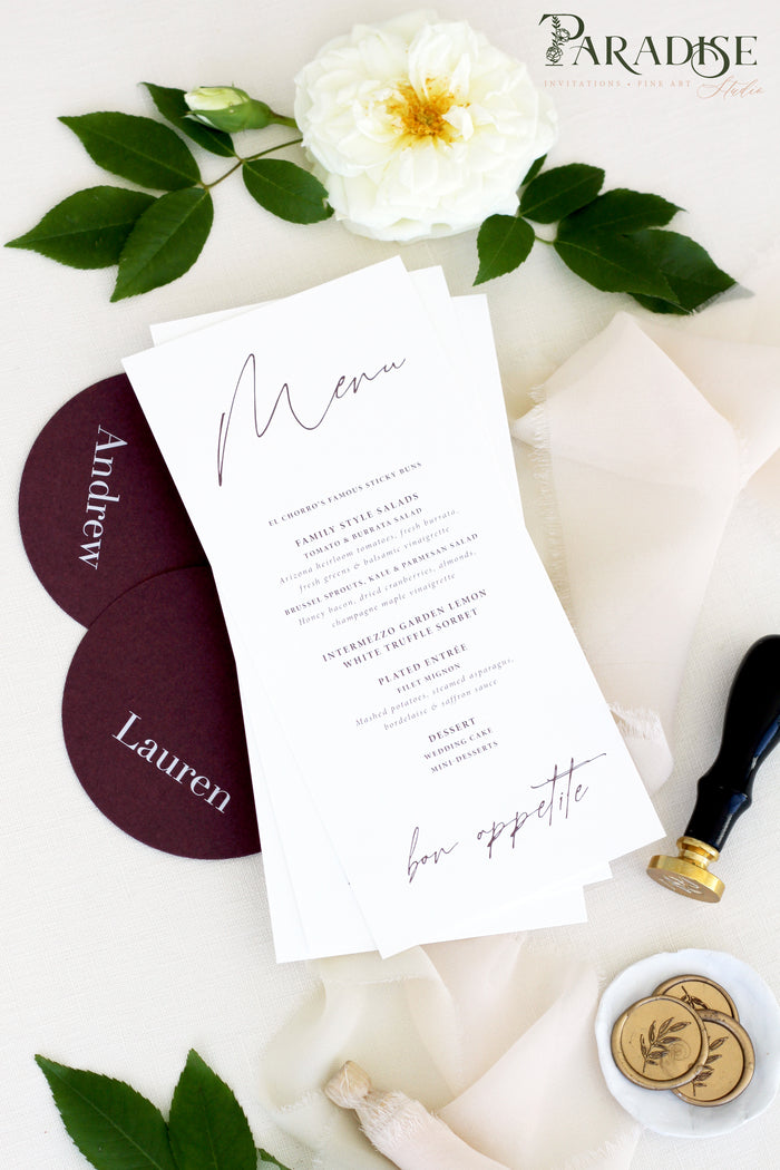 Brinley Calligraphy Wedding Menus