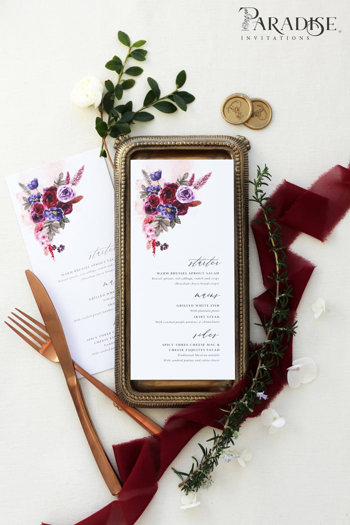 Minnie Burgundy Wedding Menu