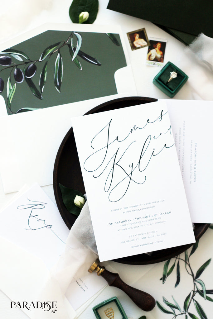 Aymar Modern Calligraphy Wedding Invitation