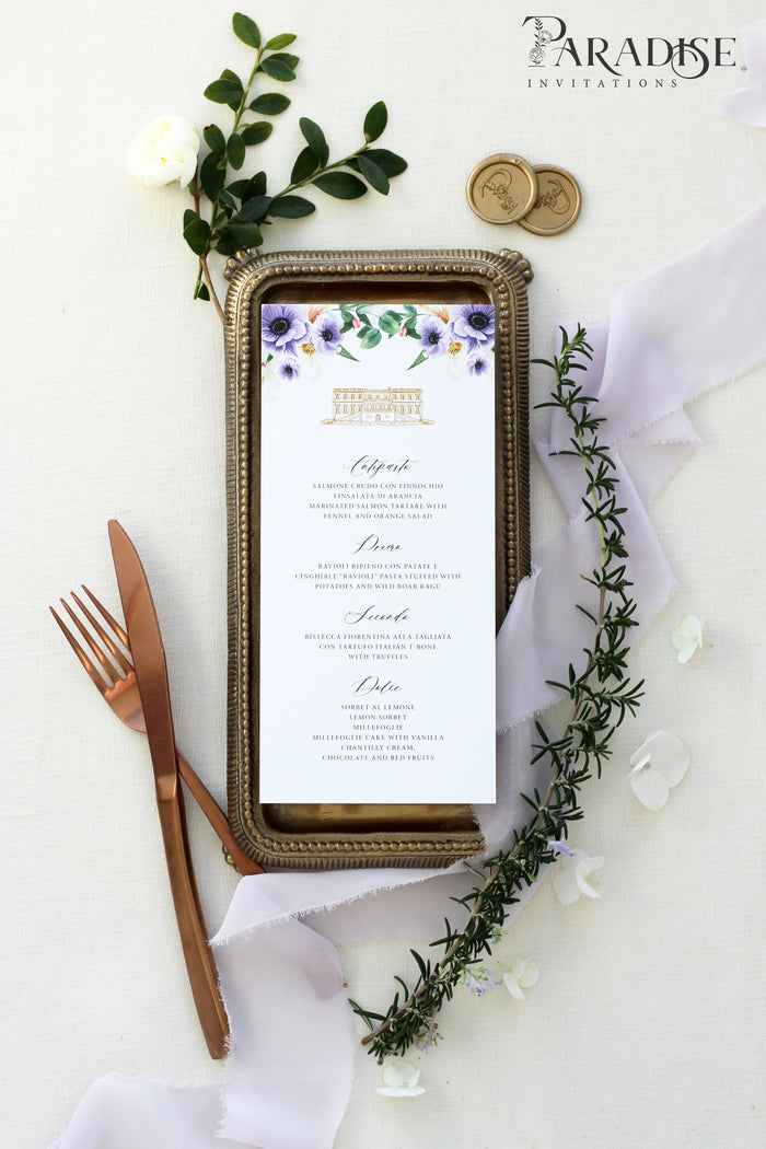 Minette Purple Floral Wedding Menu