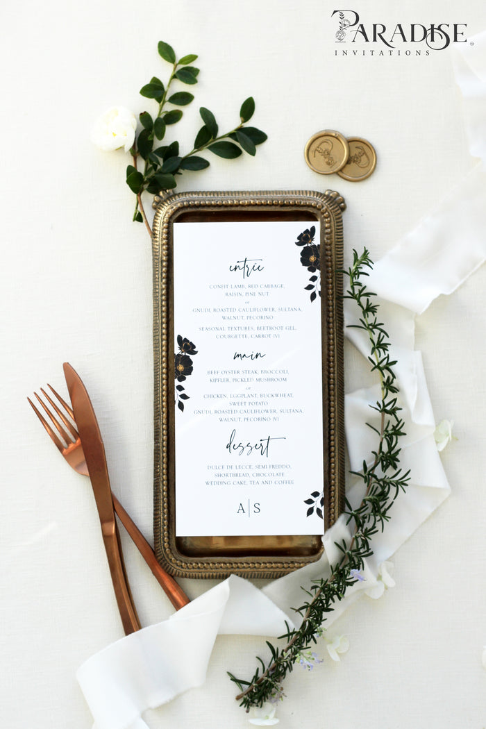 Mychelle Black Floral Wedding Menu