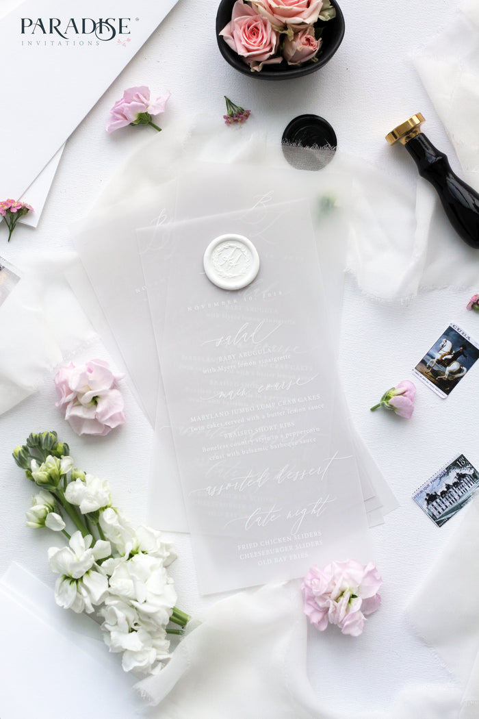 Lucile Elegant Vellum Wedding Menu