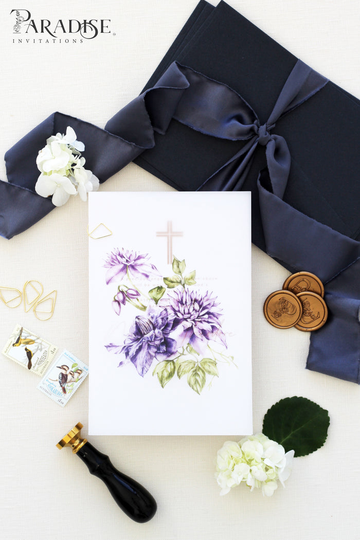 Iolande Purple Floral Christian Invitation