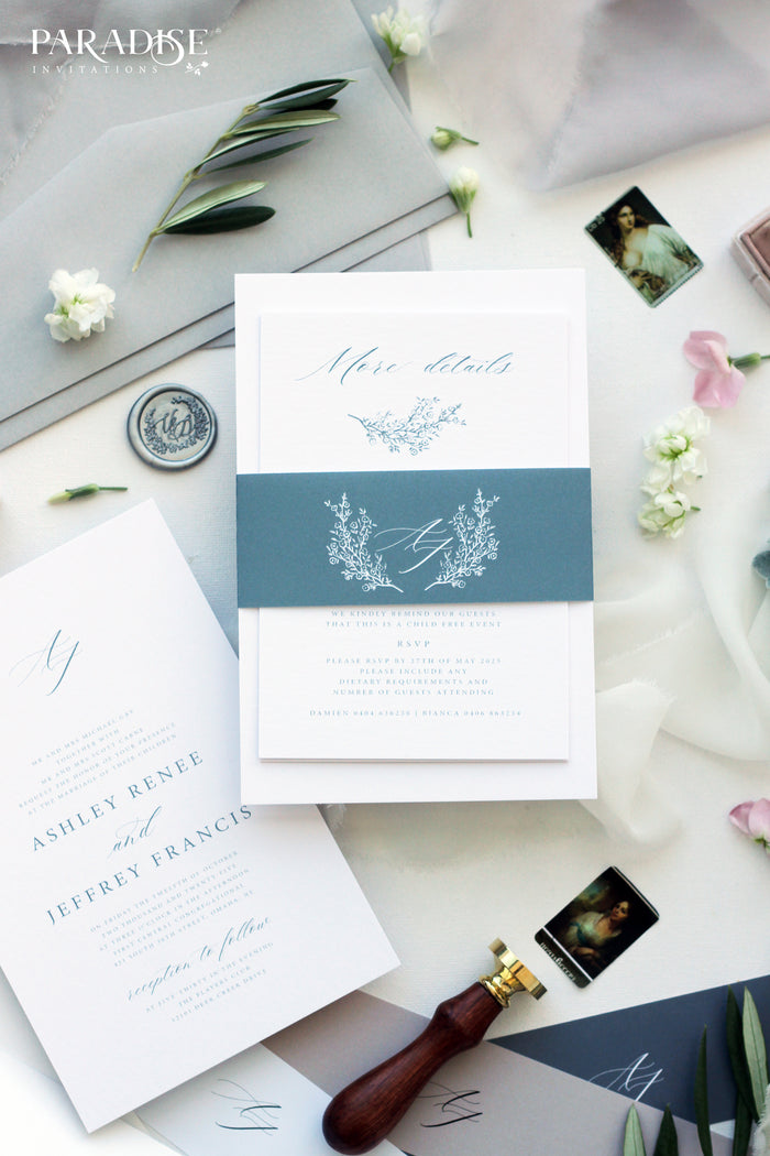 Camile Elegant Dusty Blue Wedding Invitation