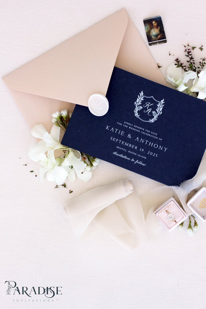 Victoria Navy Save the Date Cards