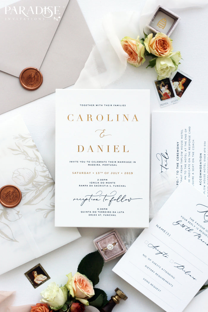 Primaveire Golden Foil Wedding Invitation