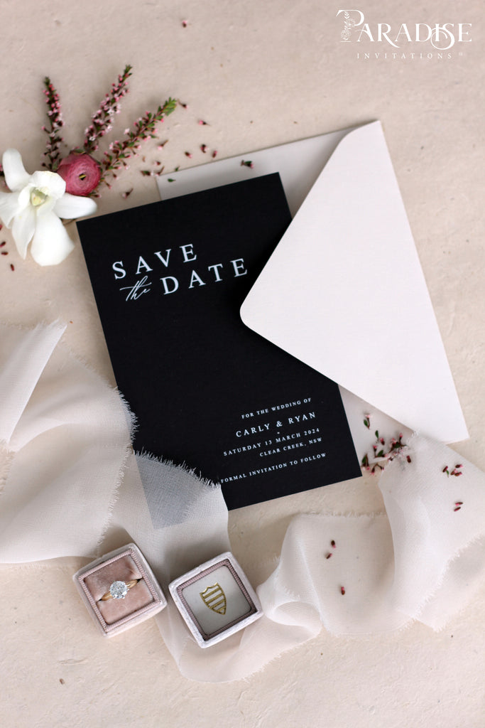 Ariana Elegant Black Save the Date Cards