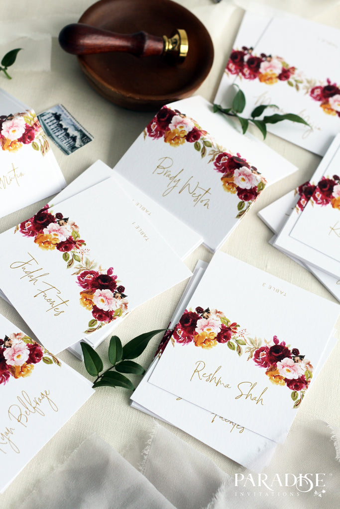 Félicité Watercolor Marsala Place Card