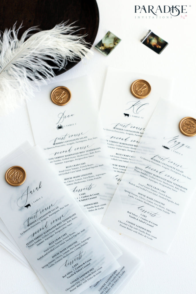 Stephane Vellum Wedding Menu