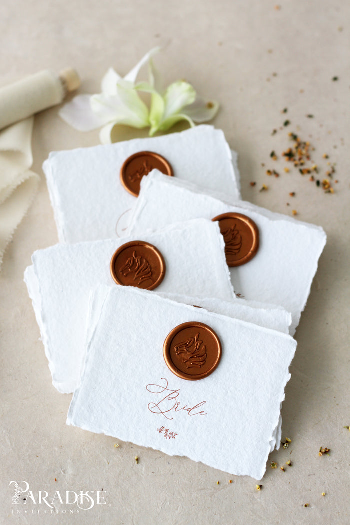 Handmade paper Place Cards and Wax seals