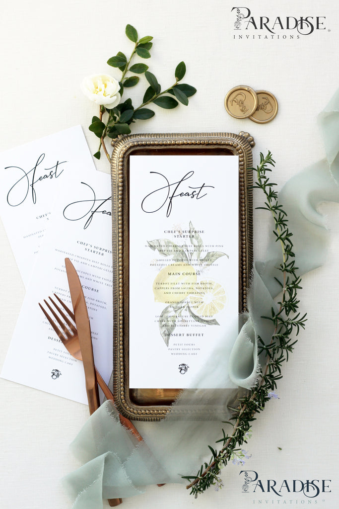 Natalie Summer Themed Wedding Menu