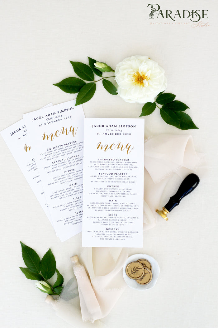 Camari Calligraphy Wedding Menus