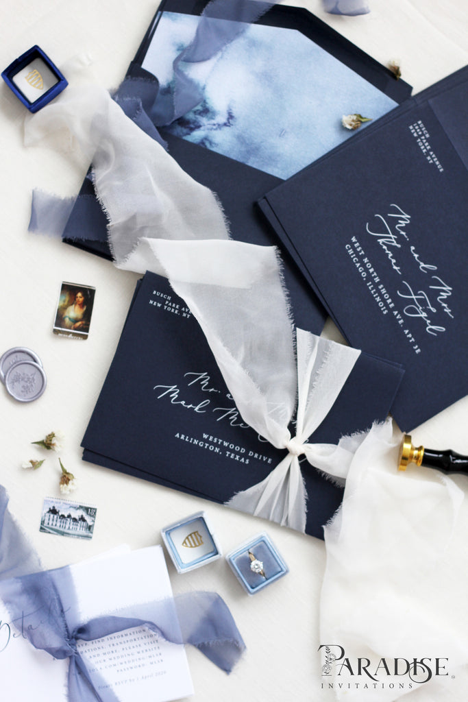 Navy Envelopes White Ink Printing