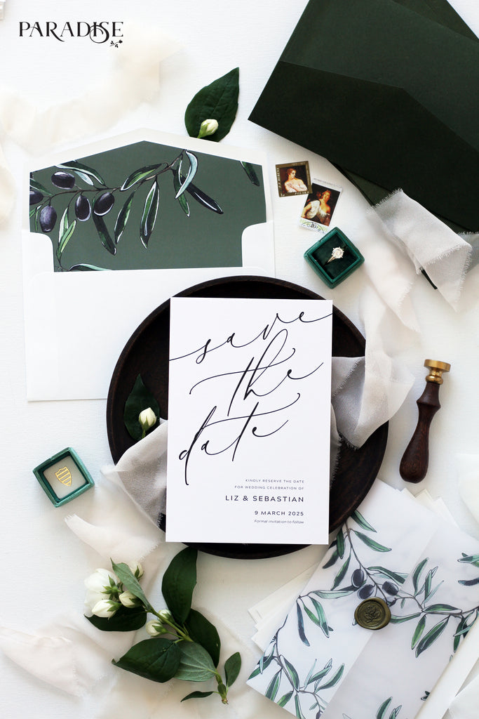 Aymar Watercolor Olive Save the Date