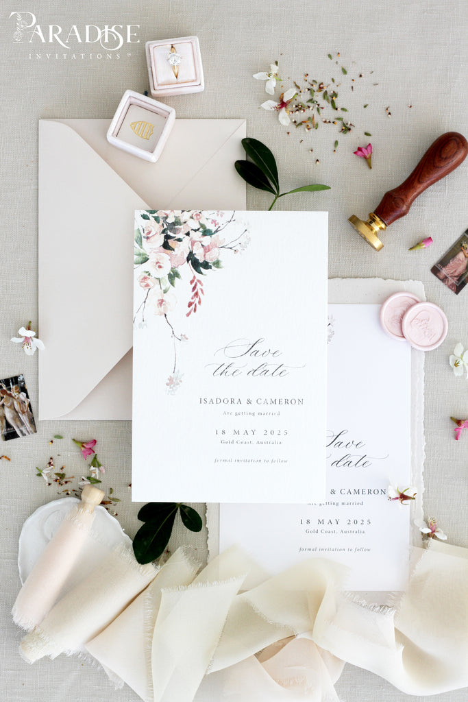 Alice Blush Floral Save the Date Cards
