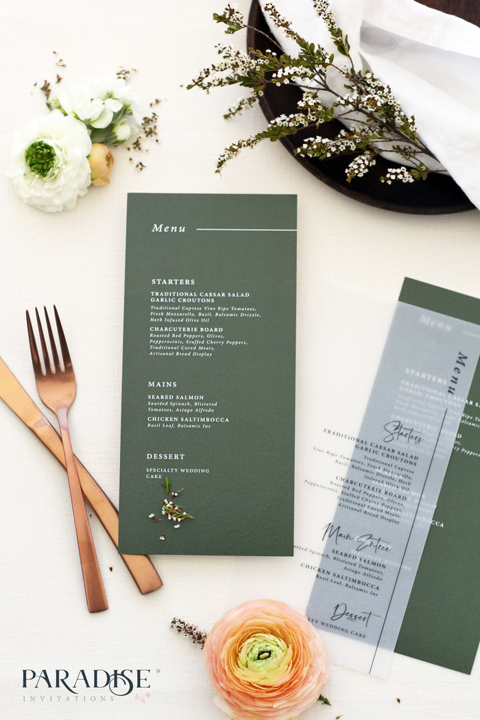 Loraine Forest Green Wedding Menus