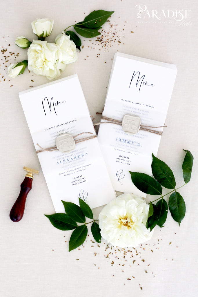 Cora Elegant Wedding Menus