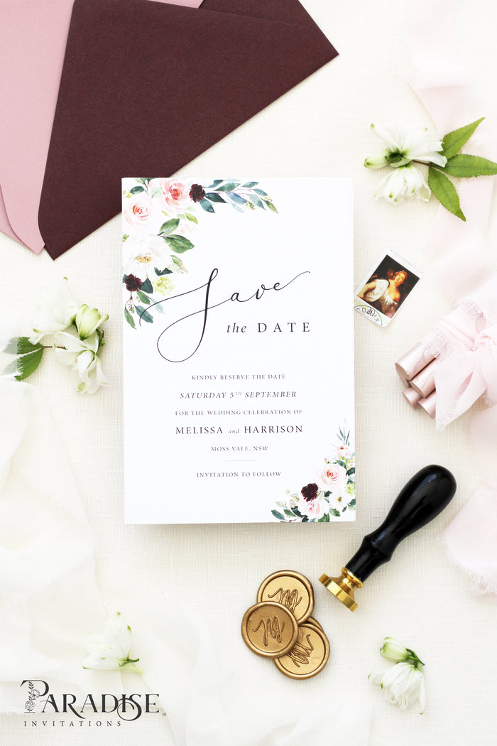 Cherita White Floral Save the Date