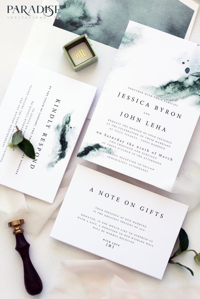 Joselyn Watercolor Brush Stroke Wedding Invitation