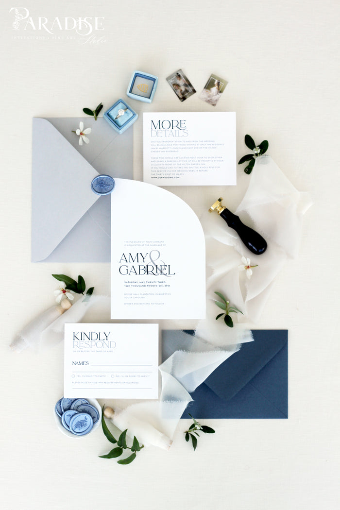 Esmeralda Half Arch Wedding Invitation
