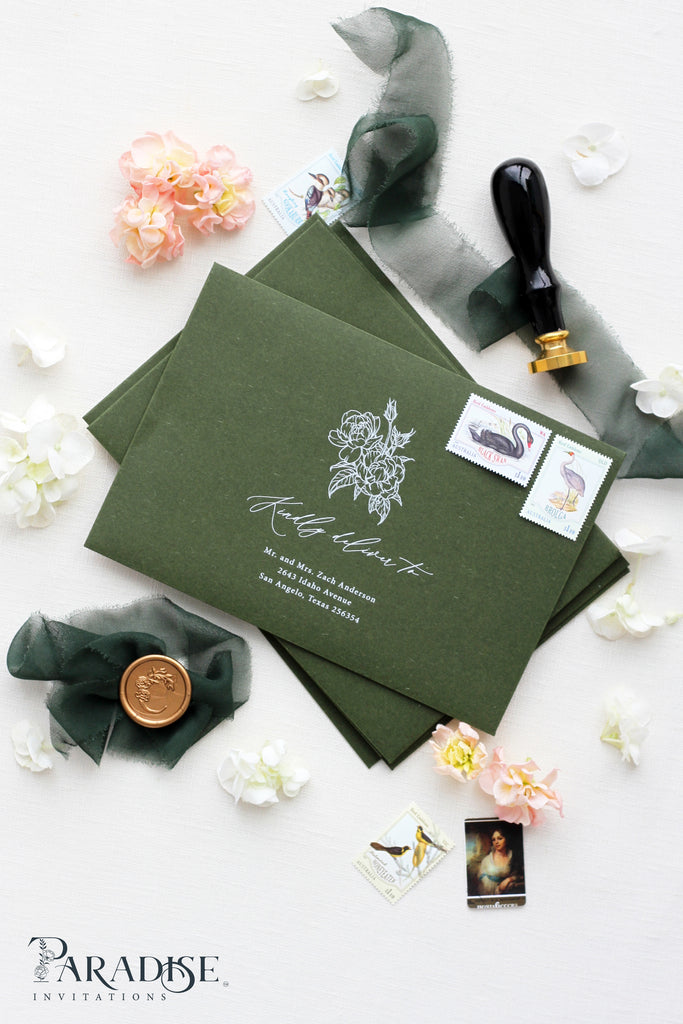 Forest Green Envelopes Calligraphy printing