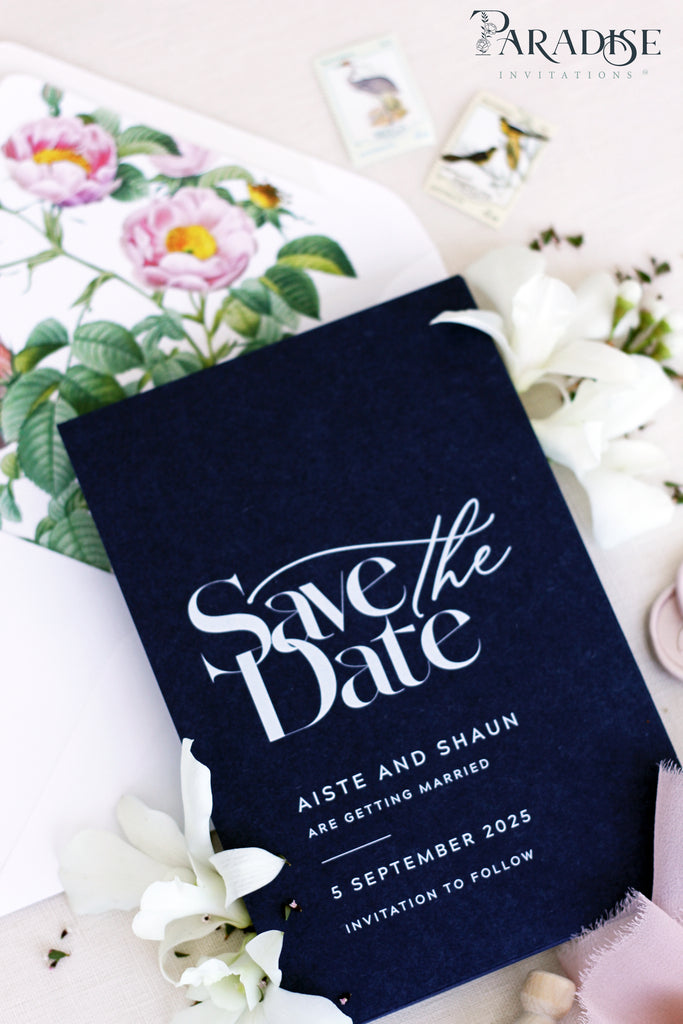 Emilia Navy Save the Date Cards
