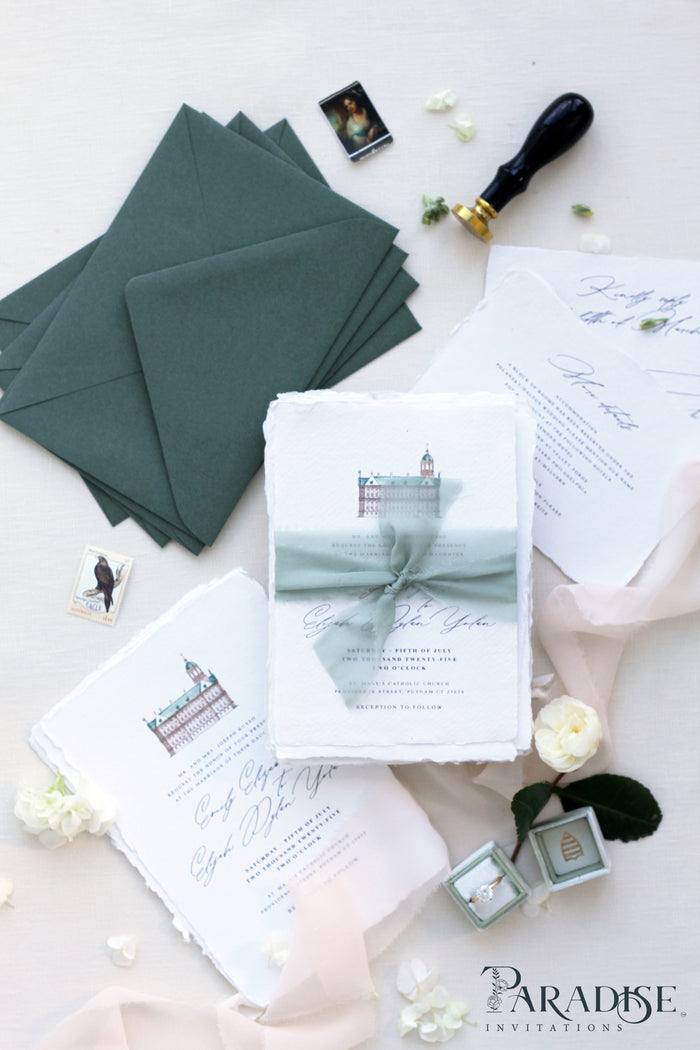 Audree Handmade Paper Wedding Invitation Sets